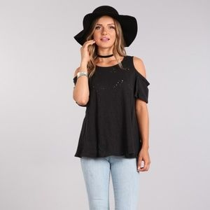 Melange Knit Open Shoulder Top
